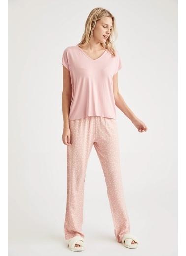 Defacto –Fit Basic Kruvaze  Yaka Pijama Takımı Bordo